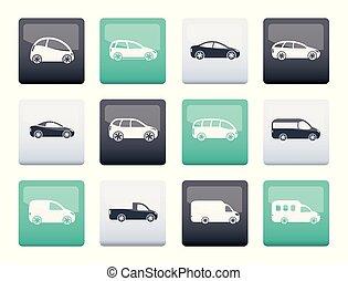 別, アイコン, 色, 自動車, 上に, 背景, タイプ