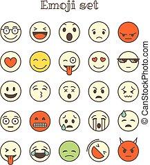別, アイコン, 色, set., ベクトル, 薄いライン, emoji