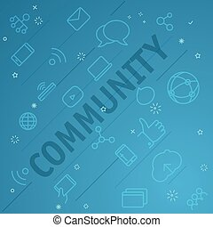 別, アイコン, concept., 共同体, 薄くなりなさい, included, 線
