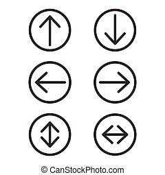 別, アイコン, set., editable, 方向, イラスト, 隔離された, バックグラウンド。, ベクトル, コレクション, 矢, arrows., 白, アイコン, 円, ラウンド, stroke.