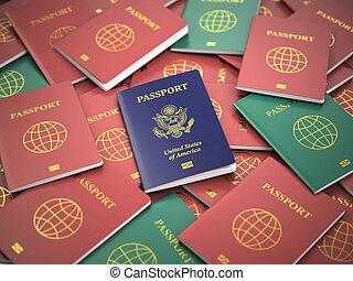 別, アメリカ, concept., 移住, 山, パスポート, passports.