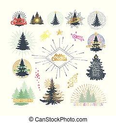 別, イラスト, ベクトル, 木, 花火, クリスマス