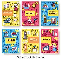 別, カバー, アウトライン, ポスター, 雑誌, 彫刻, set., 博物館, banners., 本, オブジェクト, テンプレート, 招待, パンフレット, 線, flyear, concept., カード, 薄くなりなさい