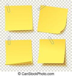 別, クリップ, ステッカー, 付けられる, 黄色, ペーパー, コレクション