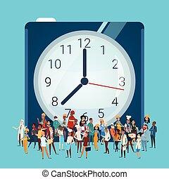別, グループ, 人々, 上に, 時計, 混合, レース, 従業員, 旗, 労働者, 職業