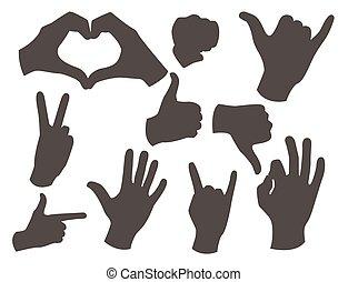別, シルエット, illustration., 人々, コミュニケーション, ジェスチャー, ベクトル, 黒, 人間の術中, メッセージ, deaf-mute, 腕