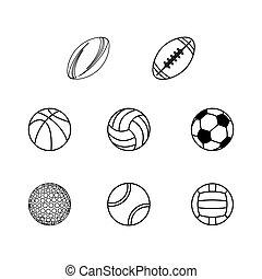 別, スポーツ, シルエット, ボール