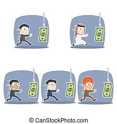 別, セット, お金, 乾燥, レース, ビジネスマン