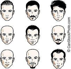 別, セット, はげ, のように, 人間, heads., ほおひげ, males., ベクトル, 男性, あごひげを生やしている, 特徴, ハンサム, 顔, ∥あるいは∥, ブルネット