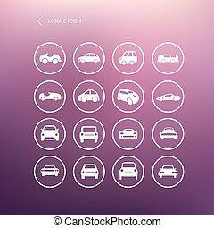別, セット, アイコン, モビール, 自動車, ベクトル, forms., 自動車