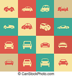 別, セット, アイコン, 自動車, ベクトル, レトロ, forms., 自動車