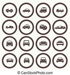 別, セット, アイコン, 自動車, 30, 形態, ベクトル, 自動車, 1.