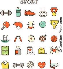 別, セット, アイコン, 色, ベクトル, 薄いライン, スポーツ