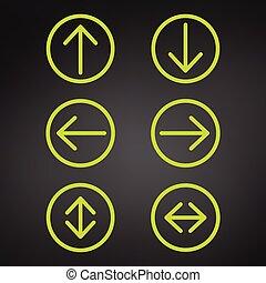 別, セット, アイコン, editable, 方向, 隔離された, イラスト, color., バックグラウンド。, ベクトル, 黒, stroke., 矢, arrows., コレクション, 緑, 円, ラウンド, アイコン