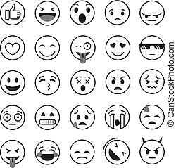 別, セット, コレクション, ベクトル, lineart, emoji