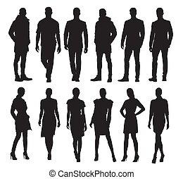 別, セット, ビジネス 人々, silhouettes., 仕事, ポーズを取る, ベクトル, 成人, 男性, 女性, 服, 形式的