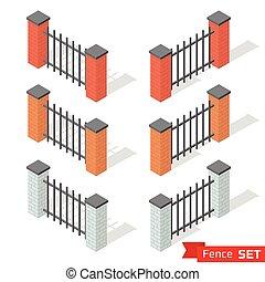 別, セット, フェンス, 色, 3, セクション