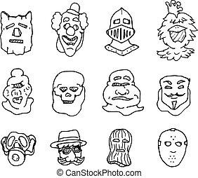 別, セット, マスク, 衣装, 顔, 漫画
