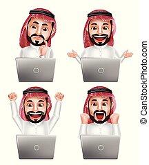 別, セット, ラップトップ, 特徴, 行動, アラビア人, ベクトル, サウジアラビア人, 前部, 人
