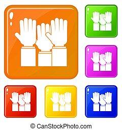 別, セット, 人々が彩色する, アイコン, の上, 上がる 手