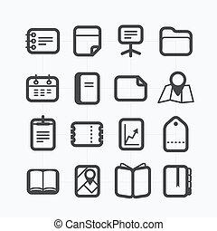 別, セット, 円形にされる, アイコン, corners., ペーパー, デザイン, 原料, 要素