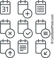 別, セット, 円形にされる, アイコン, corners., elemen, デザイン, カレンダー