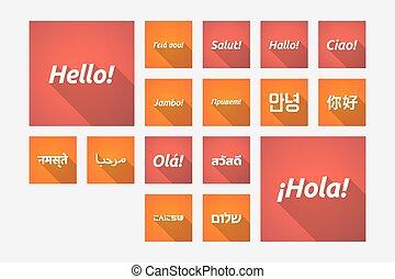 別, セット, 単語, 長い間, 言語,  shadowillustrations, こんにちは