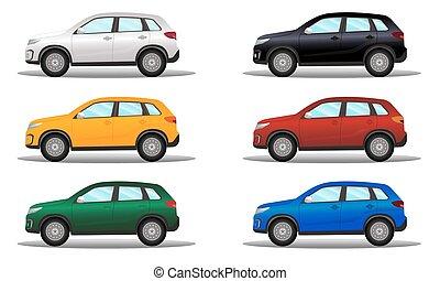別, セット, 地勢, 色, 車