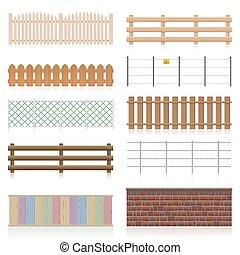 別, セット, 壁, フェンス, 手すり