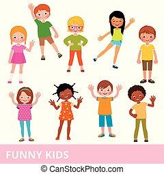 別, セット, 子供, 様々, 笑い, 国籍, 楽しみ, ポーズを取る, 持つこと