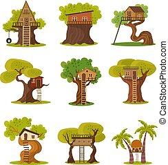 別, セット, 家, イラスト, スタイル, 木, ベクトル