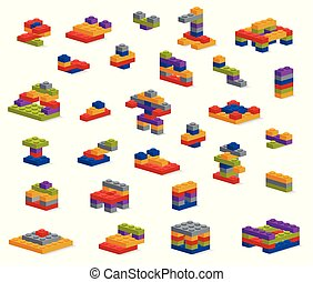 別, セット, 小片, 建築物, 様々, コンストラクター, プラスチック
