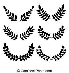 別, セット, 小麦, laurels, 花, ベクトル, wreaths.