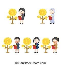 別, セット, 彼女, 女性実業家, 木, レース, コイン, 成長しなさい, 幸せ