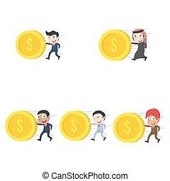 別, セット, 押す, レース, ビジネスマン, コイン