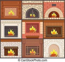 別, セット, 暖炉, 形, ストーブ, タイプ