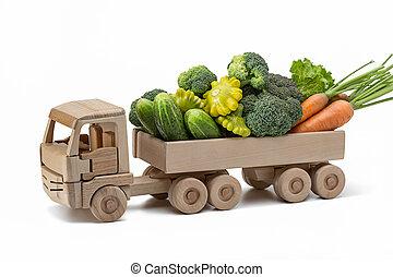 別, セット, 木製である, 野菜, 新たに, truck.