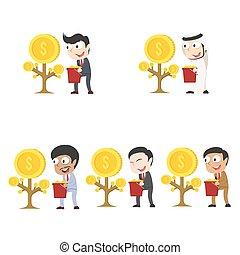 別, セット, 木, レース, ビジネスマン, コイン, 収穫する