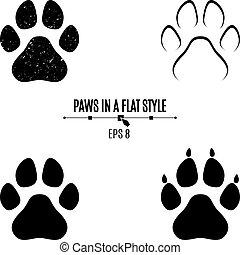 別, セット, 犬, 隔離された, バックグラウンド。, シルエット, styles., 黒, paws., 白い足, 跡
