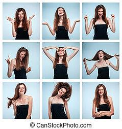 別, セット, 肖像画, 女性, 若い, 感情, 幸せ