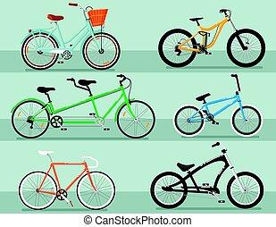 別, セット, 自転車, 隔離された, ベクトル, タイプ