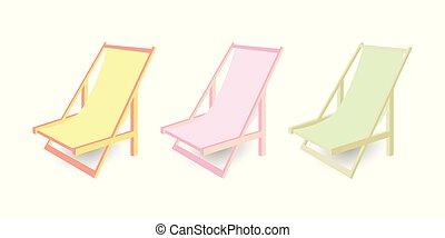 別, セット, 色, 隔離された, イラスト, バックグラウンド。, ベクトル, 椅子, longues, chaise...