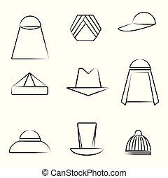 別, セット, 芸術, 帽子, スタイル, 線