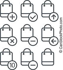 別, セット, 買い物, アイコン, corners., elemen, デザイン, 円形にされる