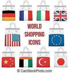 別, セット, 買い物, country., 袋, 旗, 取引, 世界