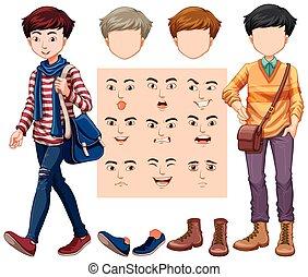 別, セット, 頭, 顔の 表現, 人