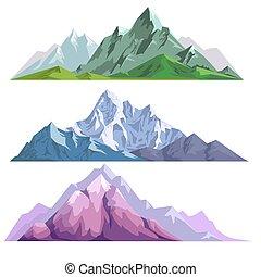 別, セット, 風景, 色, コンストラクター, 山