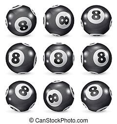 別, セット, eights, ボール, ビリヤード, 角