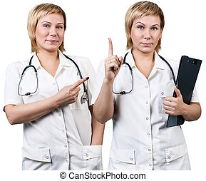 別, セット, equipment., 女性の医者