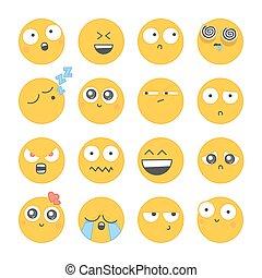 別, セット, face., smiley, アイコン